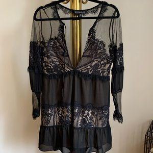 For Love & Lemons little black lace dress